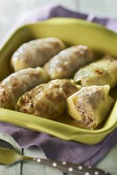 Paupiettes de chou vert aux quenelles nature, viande hachée et mozarella