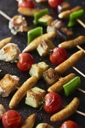 Brochettes de lotte aux légumes et soufflettes légumes
