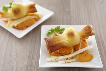 Quenelles croustillantes et salade de carottes endives orange et cumin