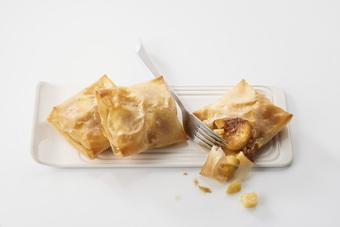 Croustillant de quenelles foie gras et pommes fondantes