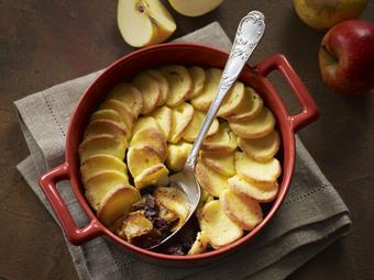 Gratin de quenelles aux pommes et boudin du Perche