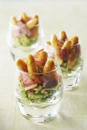 Mini quenelles aux agrumes et courgettes marinées